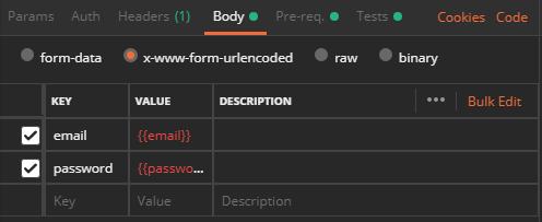 POSTMAN 請求參數視窗包含環境變數